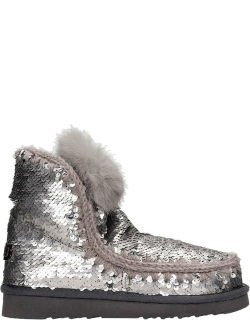 Mou Eskimo Low Heels Ankle Boots In Silver Synthetic Fibers