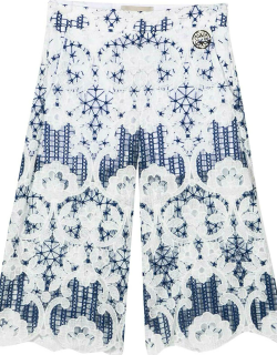 Elie Saab White Trousers With Blue Print
