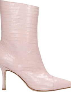 The Seller High Heels Ankle Boots In Rose-pink Leather