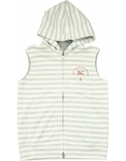 Brunello Cucinelli Cotton And Linen Striped French Terry Sleeveless Sweatshirt With Hood And Print